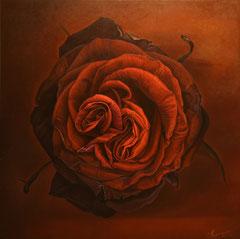Κόκκινο τριαντάφυλλο  κώδικας №105       (100χ100cm)      λαδι σε μουσαμα