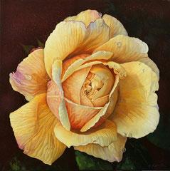 Κίτρινο τριαντάφυλλο  κώδικας №103  (100χ100cm)     λαδι σε μουσαμα