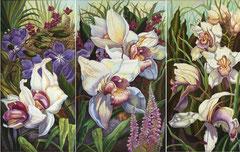 Τρίπτυχο με άσπρα λουλούδια,   κώδικας №98  (130χ90cm) --μη διαθέσιμο-SOLDλαδι σε μουσαμα