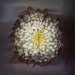 Άσπρο λουλούδι  κώδικας №111  (100χ100cm)  λαδι σε μουσαμα