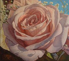 Ροζ τριαντάφυλλο  κώδικας №108, λαδι σε μουσαμα