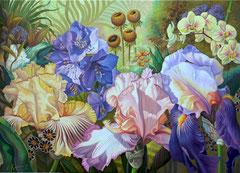 Λουλούδια με ίριδες,   κώδικας №94  (90χ125cm) -μη διαθέσιμο-SOLD λαδι σε μουσαμα