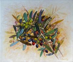 Πράσινες ελιές,  κώδικας №137  (60χ70cm)  (χωρίς κορνίζα)  -μη διαθέσιμο-SOLD,  λάδι, ακρυλικό σε μουσαμά
