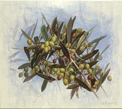 Πράσινες ελιές,   κώδικας №134  (60χ70cm)  --μη διαθέσιμο-SOLD  λάδι, ακρυλικό σε μουσαμά