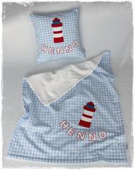 Babydecke Leuchtturm + Name
