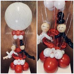 ca. 80cm Durchmesser Heißluftballon inklusive Helium, mini Ballons und Bänder+Brautpaar mit Herz. Preis: 80,00€