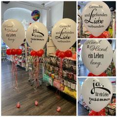 "16"" Latexballon inklusive Helium, Bänder, Gewicht, 4 x 5"" mini Ballons. Preis pro Stück: 16,00€"