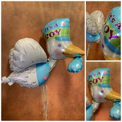 """Folienballon """"Storch"""" ( 58cm x 81cm) inklusive Helium, Bänder und Gewicht. Preis: 29,00€"""