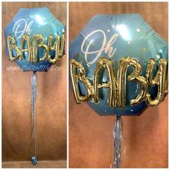 """""""oh BABY"""" Folienballon inklusive Helium, Bänder und Gewicht. Preis: 25,00€"""
