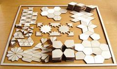 De stukjes geordend naar vorm