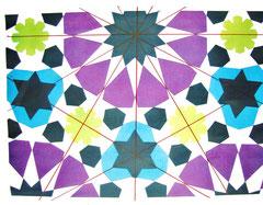 Detail van een poster dat de symmetrie-assen van het derde ontwerp toont.
