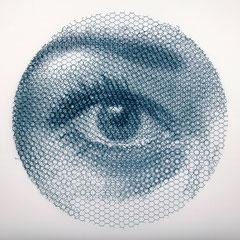 Left Elena's sight, 2019, 80x80cm, dieci fogli di rete metallica intagliati a mano