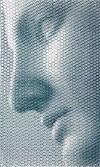 Calliope, 2019, 100x60cm, dieci fogli di rete metallica intagliati a mano