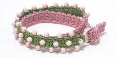 Undine - Wickelarmband - rosa/grasgrün