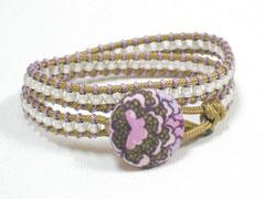 Wickelarmband - Janis, beige/rosa