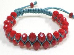 Armband - Janis, Glasschliff/rot