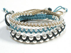 "3 Armbänder  ""Janis"" - Sterlingsilber /Nylon"