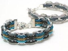 "2 Armbänder ""Janis"" - Silber und Aluminium/Nylon und Leder"