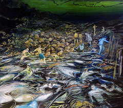 404 days of rain - 1, 140x160cm, mixed media on canvas 2014