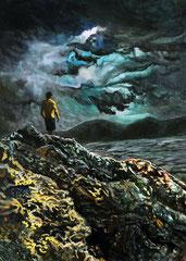 404 days of rain-7, 50x70cm, mixed media on canvas 2014