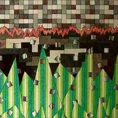 Gewitterlandschaft-Pointillismus-Marker a. Fotokarton 68 cm x 68 cm