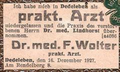 Zeitungsanzeige Dez. 1927
