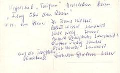 """Dr. Wolter mit dem Kegelklub """"Taifun"""" Dedeleben beim """"Flug über den Rhein"""". Rückansicht"""