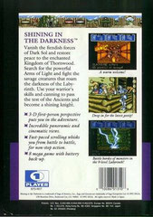 Shining in the Darkness (Back) (USA)