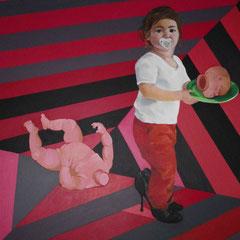 """""""Salomé tenant la tête de Saint Jean-Baptiste"""", 2010, 154x154, acrylique sur toile ©"""