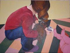 """""""Marie-Madeleine lavant les pieds de Jésus"""", 2010, 60x81, acrylique sur toile ©"""