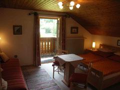 Zweibettzimmer mit ausziehbarer Couch, Dusche und Balkon