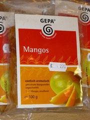 Mangos, exotisch aromatisch getrocknete Mangostreifen gesüsst