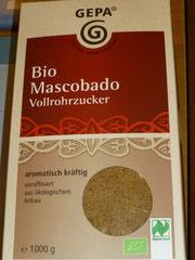 Bio Mascobado, unraffinierter Vollrohrzucker, in 1000 g und 500 g Packung