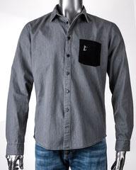 Delight - Herren Jeanshemd in Grey Denim mit bestickter Brusttasche
