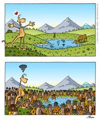 """Cartoon zur """"Kunst am Steinberg""""-Ausstellung in den Salzwelten Altaussee zum Thema """"Overtourism"""" (2020)"""