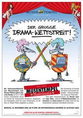 """""""Drama-Wettstreit"""" - Plakat für Kulturverein Musentempel, Linz (2009)"""
