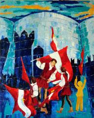 2012 - Specchio del Passato, Riflesso del Futuro - olio a spatola su tela - 100x80 cm - II° Premio Art& Immagine Feste Vigiliane Trento ed. 2012 collez.  Provincia di Trento