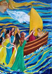 2019 - VERSO LA LUCE - olio a spatola su tela - 100x70 cm -2019 - (Divina Commedia - Paradiso, Canto II, versi 7-9 -«L'acqua ch'io prendo già mai non si  corse; Minerva spira, e conducemi Appollo,  e nove Muse mi dimostran l'Orse»