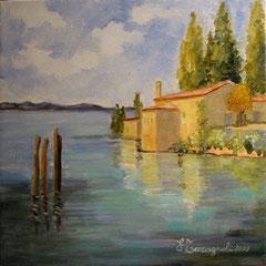 2009 - In riva al Lago - olio su tela - 30x30 cm - collezione privata