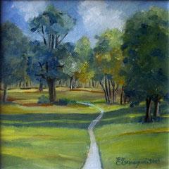 2009 - Nel bosco - olio su tela - 30x30 cm - collezione privata