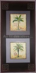 "Tableau ""Double palmiers"" (chassis 60 x 30 cm)"