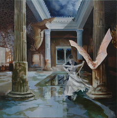 Pompeii-Silver wedding-oil and acryl with sand on canvas-81 x 81 cm                     -SOLD-