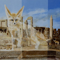 Fennek-Karnak- acryl with sand on canvas- 81 x 81 cm