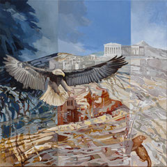 Attack on the Acropolis-acryl and oil with sand on canvas- 81 x 81 cm