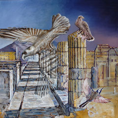 Daybreak in Pompeii - oil with sandstructure on canvas - 140 x 140 cm