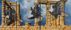 Eagle lands at Poseidon - triptych - oil ith sand on canvas - 184 x 80 cm