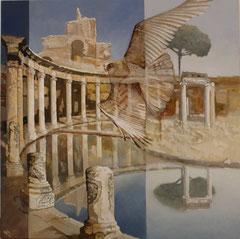 Falcan sweeps through Tivoli - oil with sand on canvas - 81 x 81 cm