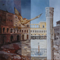 Time Astonishment - Forum Trajanum - oil and acryl with sand on canvas - 81 x 81 cm