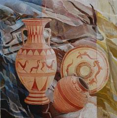 Antilope-Cerveteri-oil and acryl with sand on canvas- 81 x 81 cm