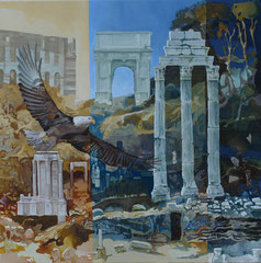 Eagle on Forum Romanum-oil and acryl with sand  on canvas-81 x 81 cm